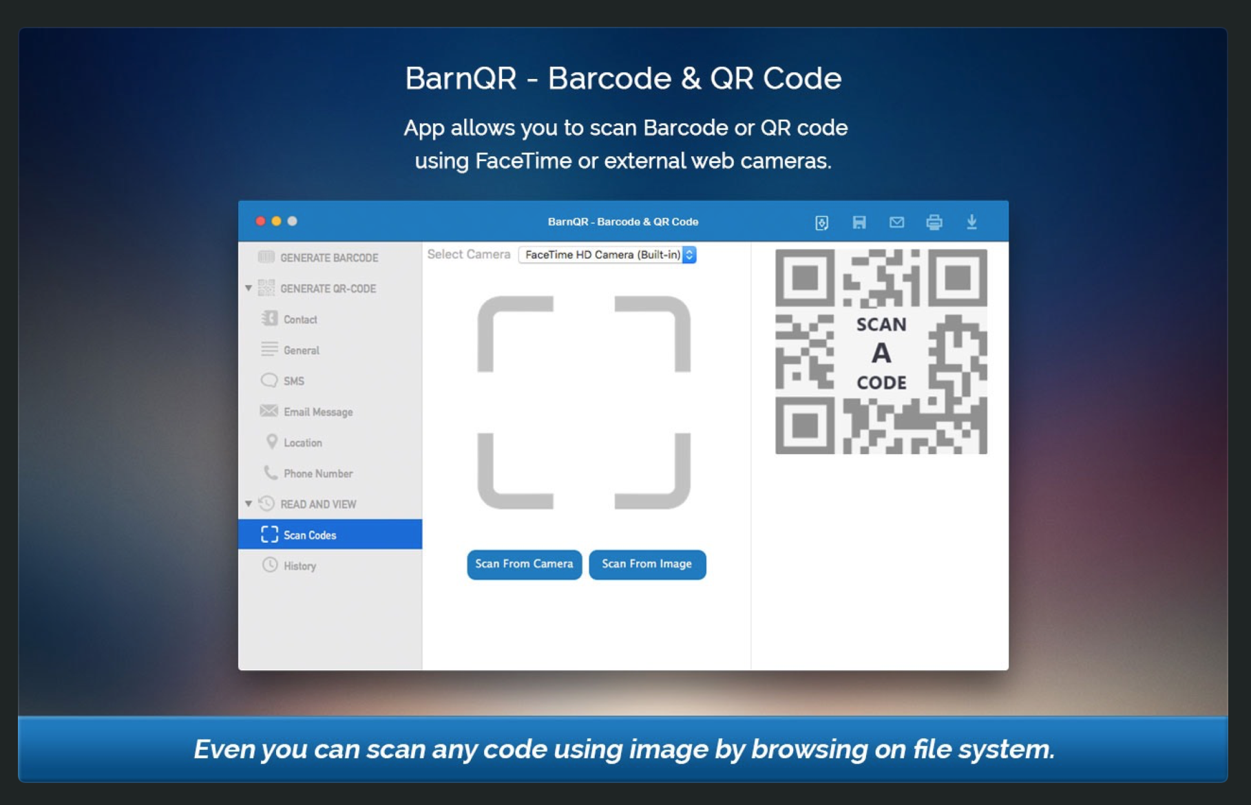 BarnQR Generator and Scanner features